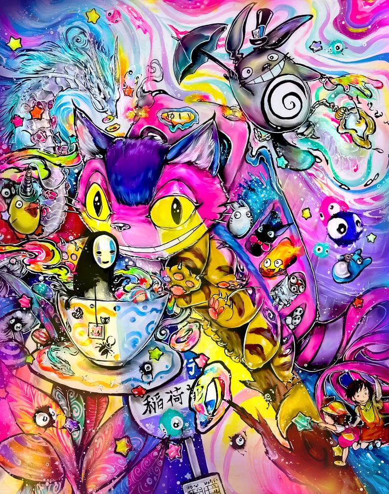 """Image of """"Ghibli in Wonderland"""" Original Painting"""