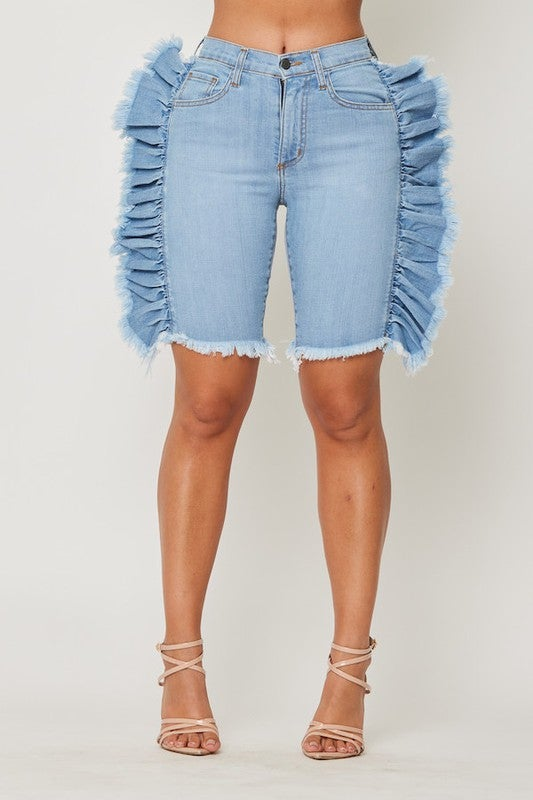 Image of Ruffled Bermuda Shorts