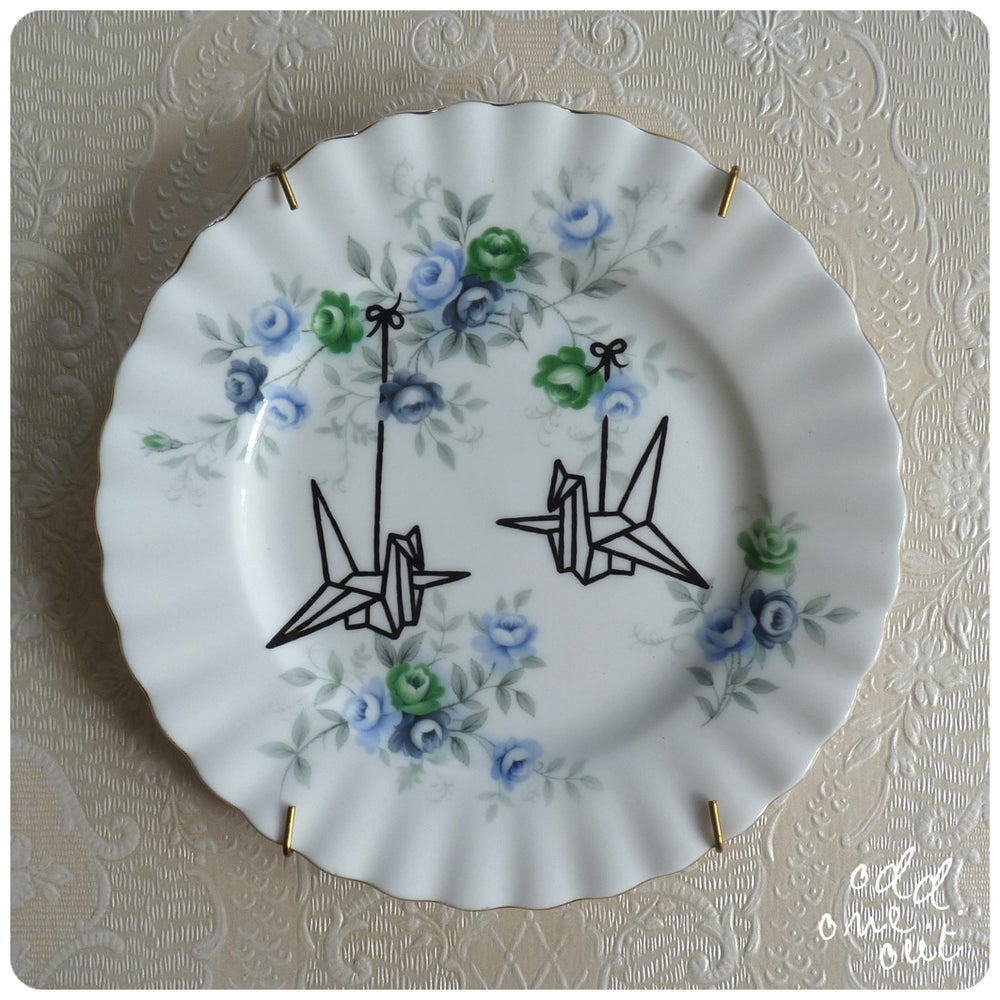 Image of Origami Birds - Hand Painted Vintage Plate