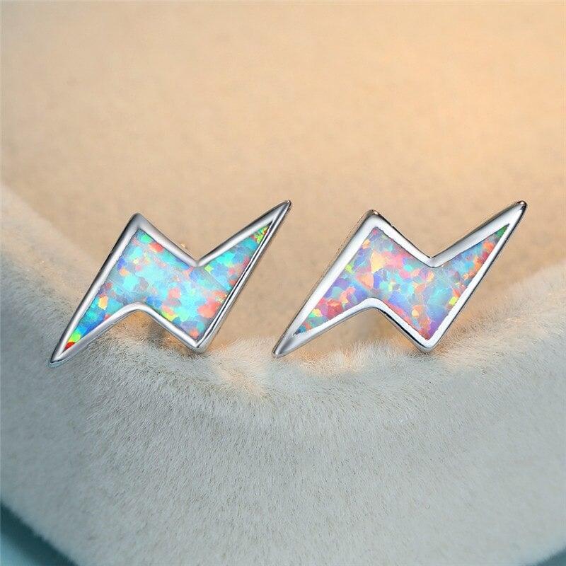 Opal Lightning Bolt Stud Earrings