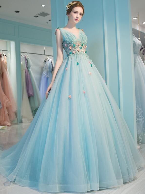 Lovely Blue Flowers Tulle V-neckline Long Sweet 16 Dress, Blue Party Dress Formal Dress