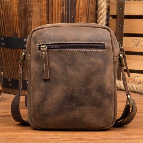 Image of Crazy Horse Leather Messenger Bag Men Shoulder Bag Retro Satchel MSG1788