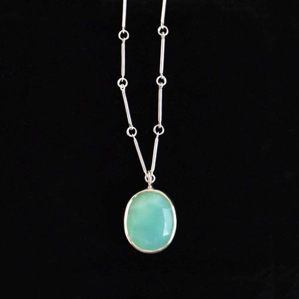 Image of Natural Chrysoprase big oval cut silver necklace