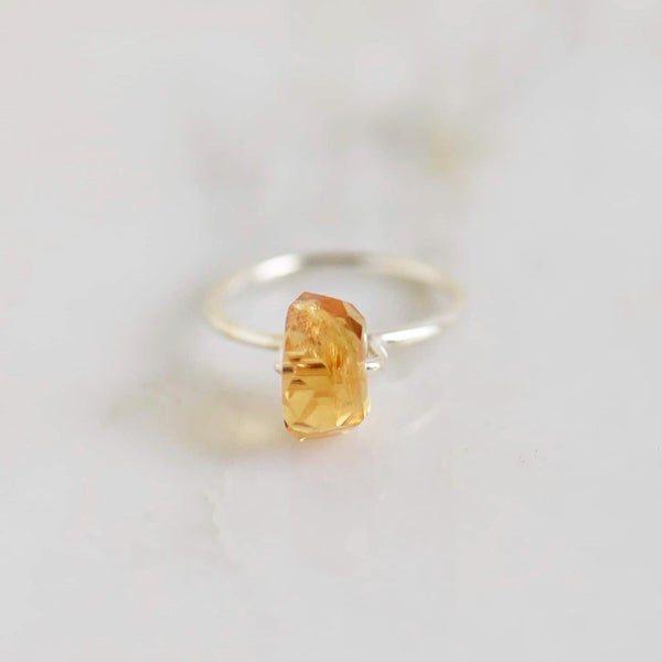 Image of Citrine faceted cuts cube silver ring