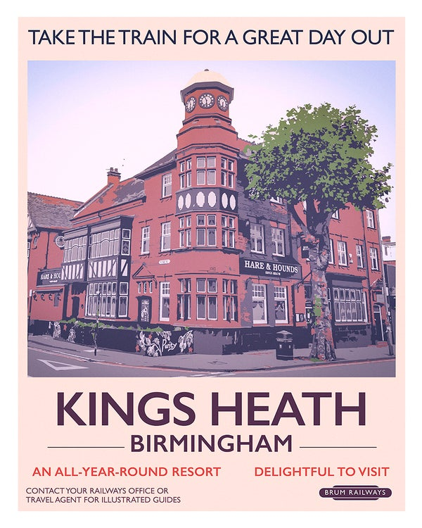 Image of Kings Heath retro rail poster