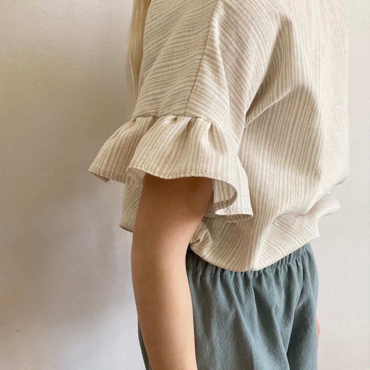 Jonna Blouse- cream linen with golden lurex