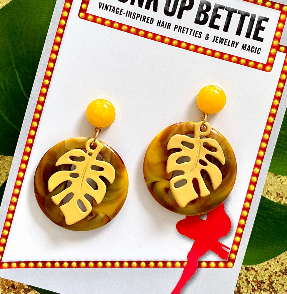 Image of Miss Monstera Deliciosa Earrings - Mustard/Yellow