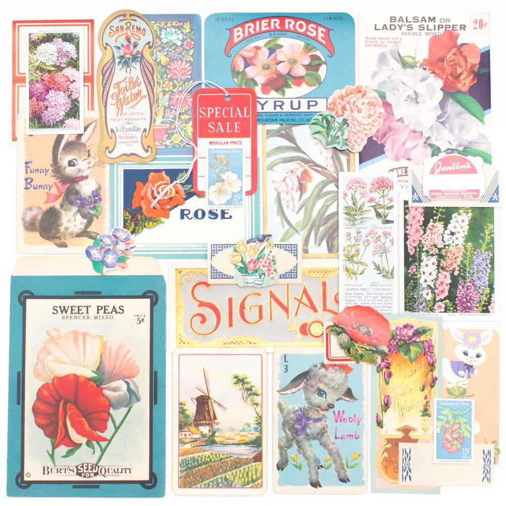 Image of Antique Seed Packet with Pink, Red, & Blue Ephemera