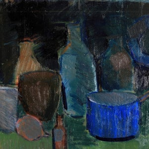 Image of Mid 20thC, Swedish, Oil Painting, 'Blue Pan and Lemons'
