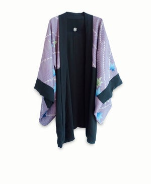 Image of Kort sort kimono af silke med for med ahorns blade - vendbar