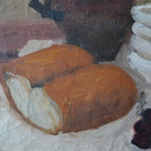 Image of Mid 20thC, French Still Life,  'Bread and Cherries.'