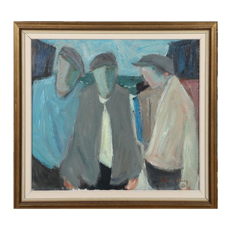 Image of Mid 20thC, Swedish Oil Painting, 'Three Fishermen.'