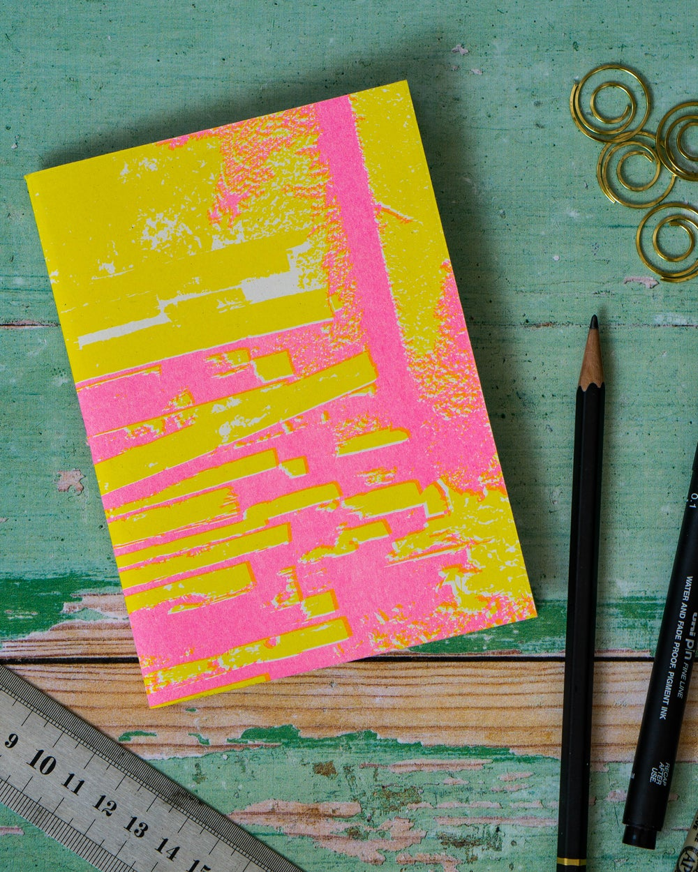 INDUSTRIAL NOTEBOOK - pink + yellow