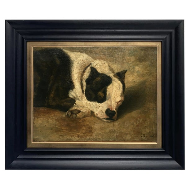 Image of 1867, French, Pet Portrait Painting, 'Bulldog,'