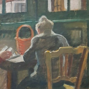 Image of Early 20thC, French Pastel Drawing, 'Café pour Deux.'