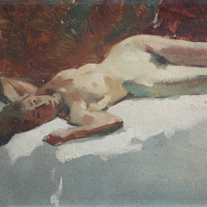 Image of 1920's, French Oil Painting, 'Jeune Femme.'