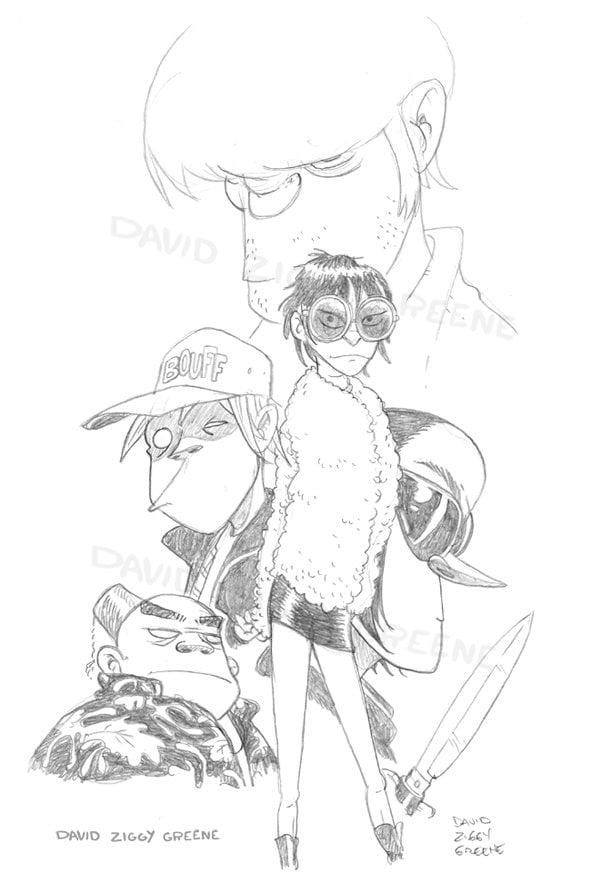 Gorillaz sketch print