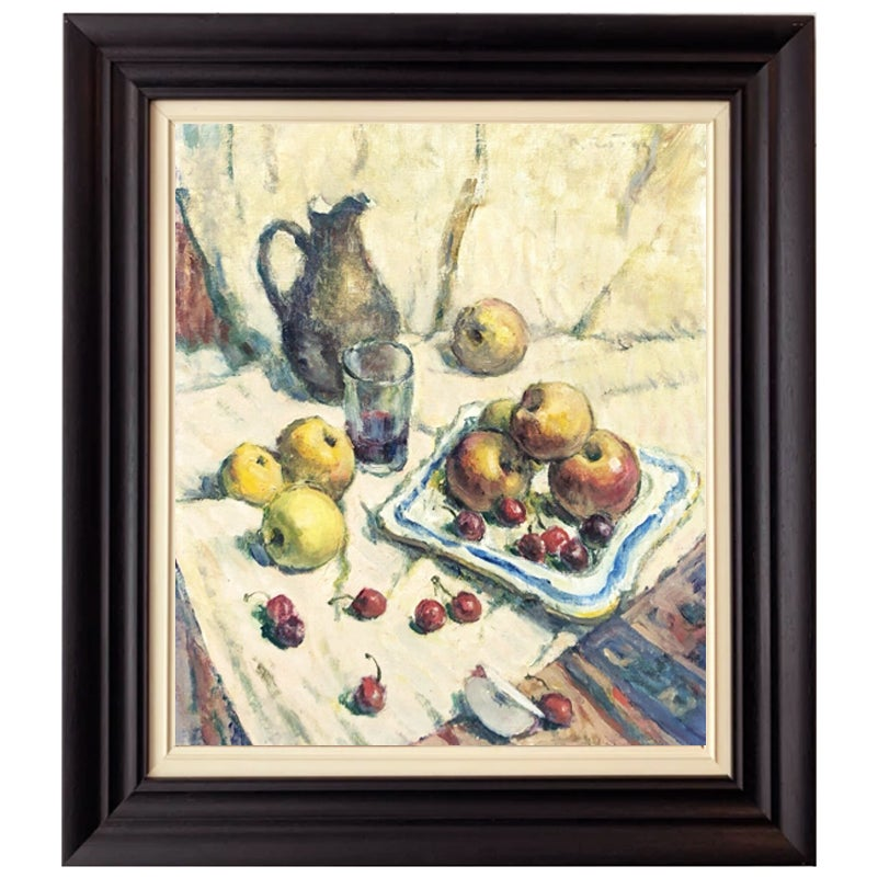 Image of 1933, French Oil Painting, 'Apples and Cherries.'