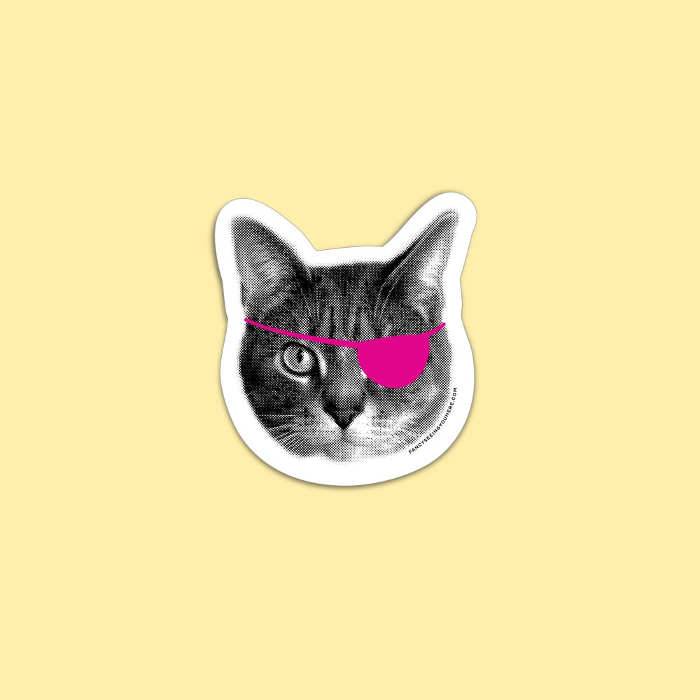 Image of eyepatch cat sticker - pirate kitty - cat decal - laptop sticker