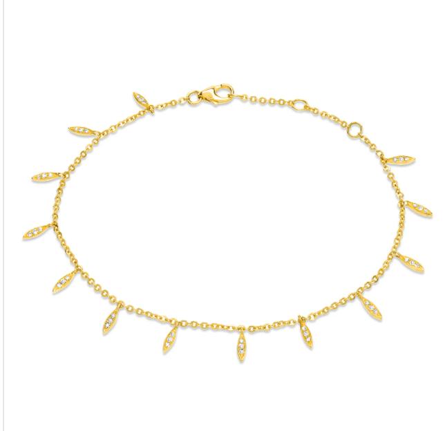 Image of  Dainty Drops Bracelet (14 kt and Diamond0