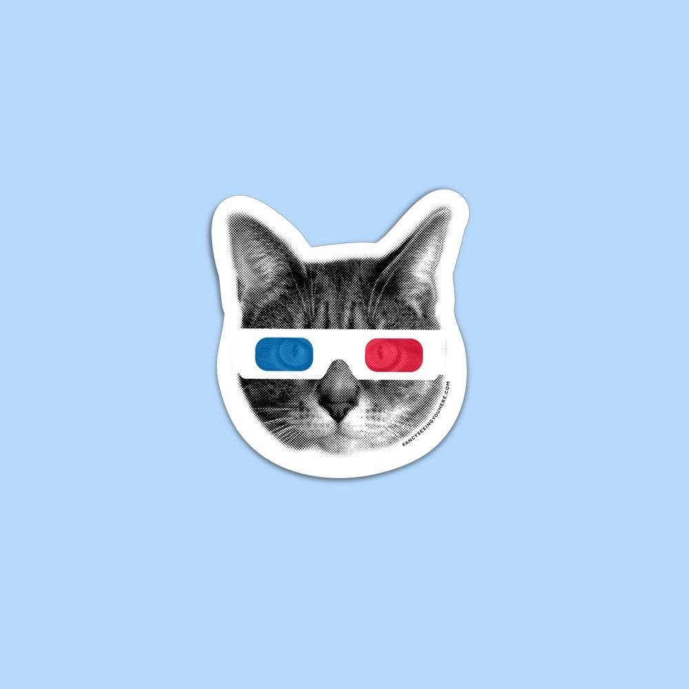 Image of 3D cat sticker - retro kitty - 3D glasses - movie theater - cat decal - laptop sticker