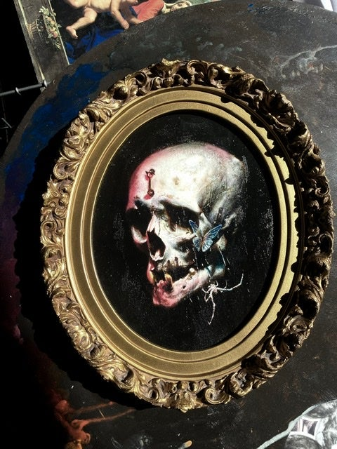 Image of 'DANSE MACABRE' - Hand Embellished Museum Archival Print in antique 19th C. frame