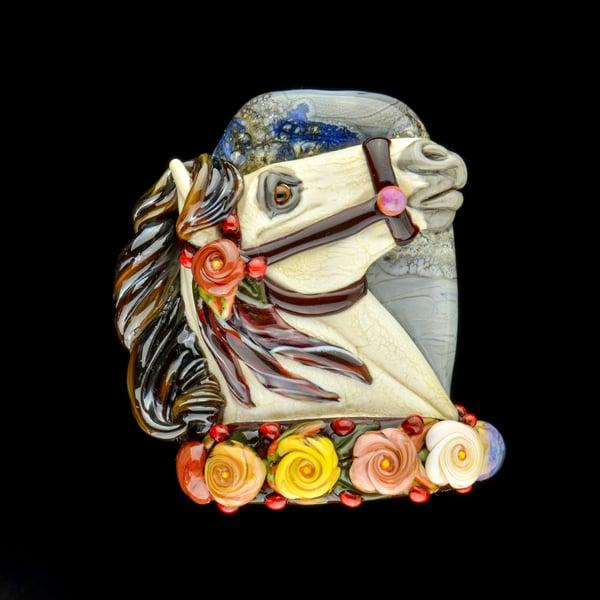 Image of XXXL. Autumn Mist Carousel Horse - Flamework Glass Sculpture Bead