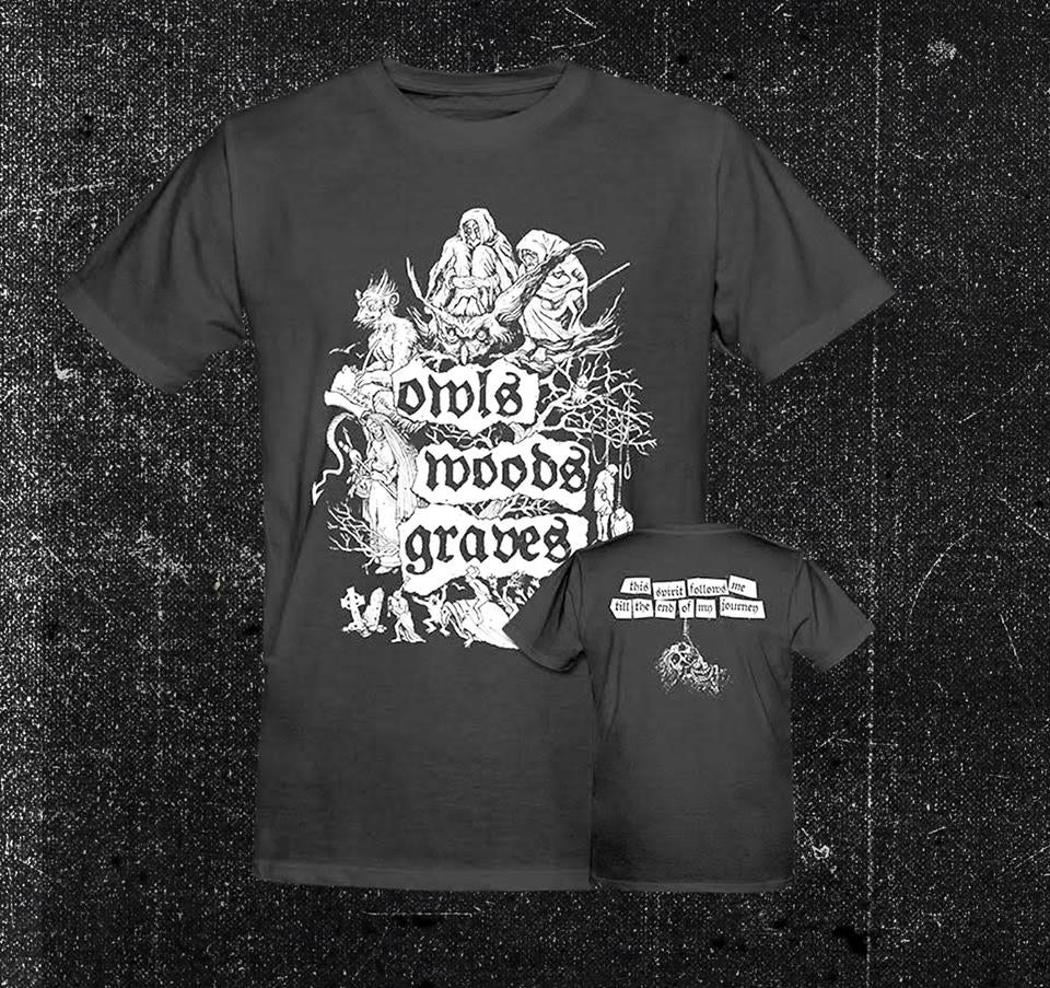 Image of OWLS WOODS GRAVES  - 'This spirit follows me' men's t-shirt