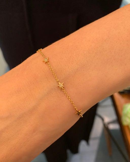 Image of 14 kt and Diamond Petite 5 Star Bracelet