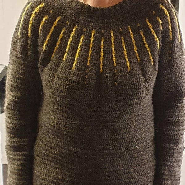 "Image of ""Shooting star"" sweater, hækleopskrift"