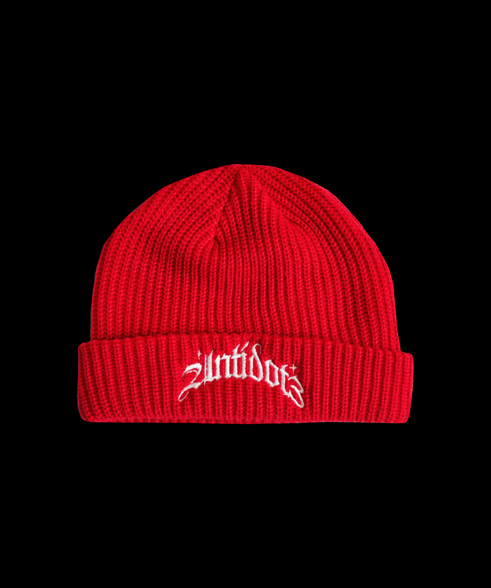 Image of ANTIDOT3 CABLE KNIT BEANIE RED