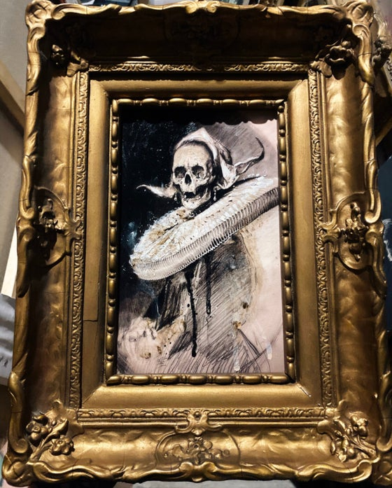 Image of 'Skull woman in baroque ruff' { d'après Frans Hals } - [ 1/1 ]  Hand Embellished Print