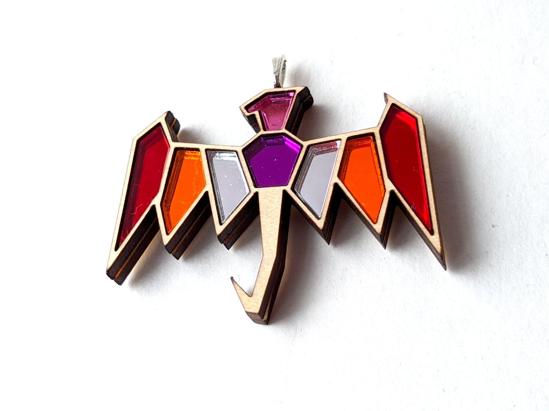 Lesbian Pride Dragon Necklace