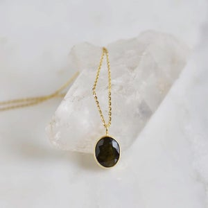 Image of Natural Dark Green Sapphire oval cut 14k gold necklace