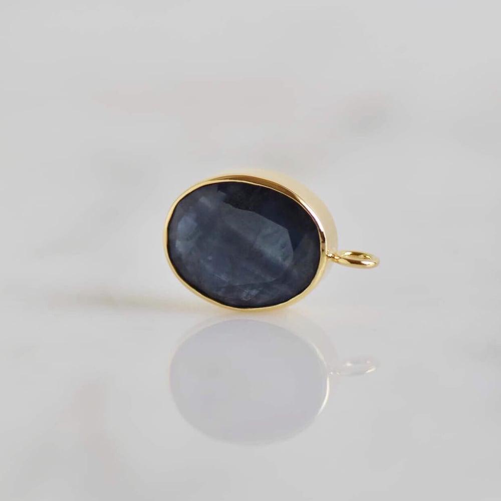 Image of Natural Blue Sapphire ova cut 14k gold neckace