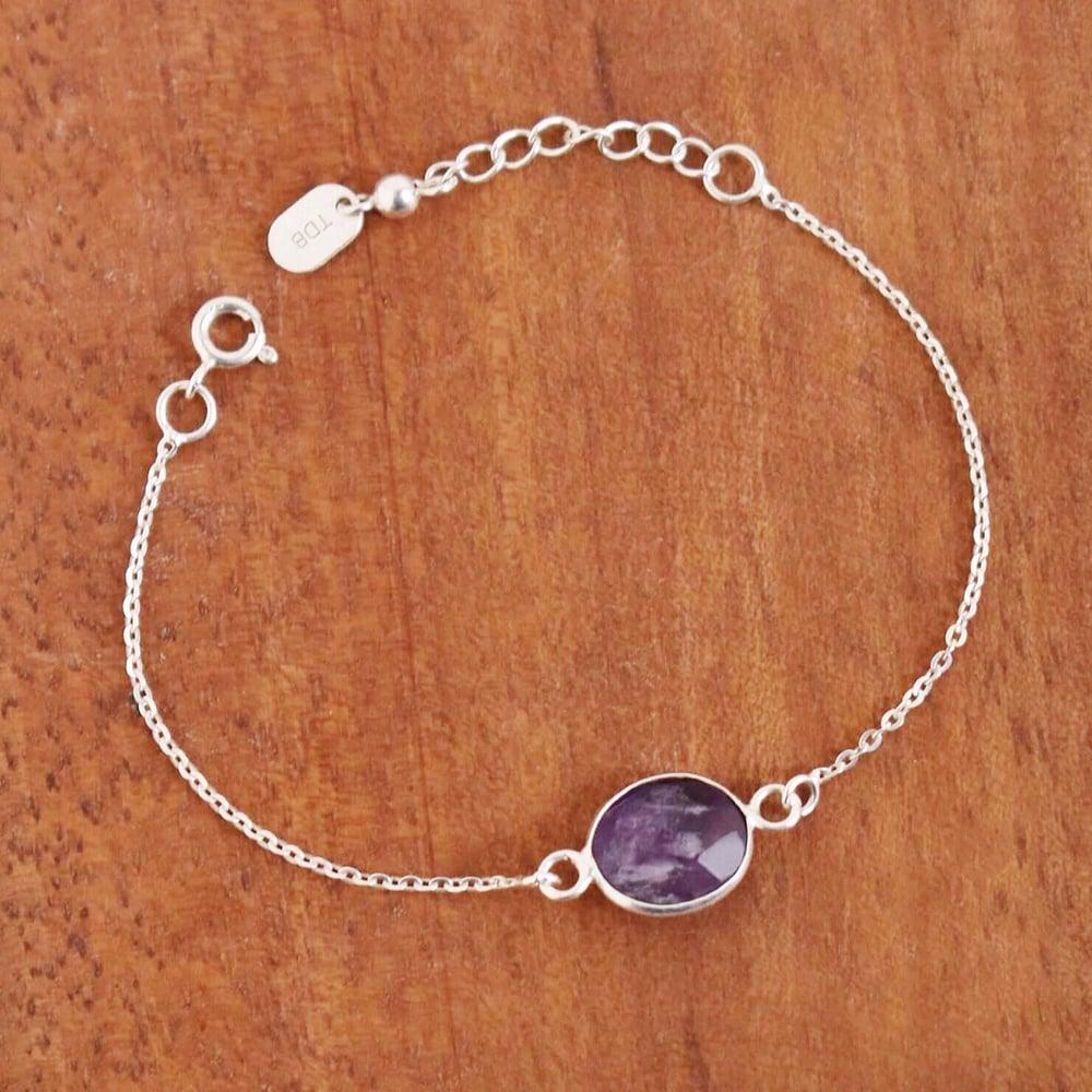 Image of Purple Fluorite faceted cut silver chain bracelet