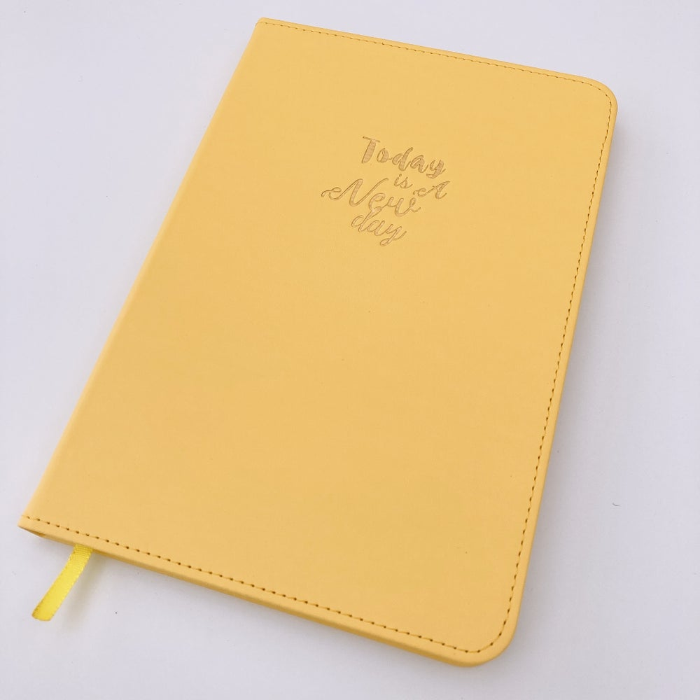 """Image of  """"TODAY IS A NEW DAY"""" SUNSHINE YELLOW PU NOTEBOOK JOURNAL"""
