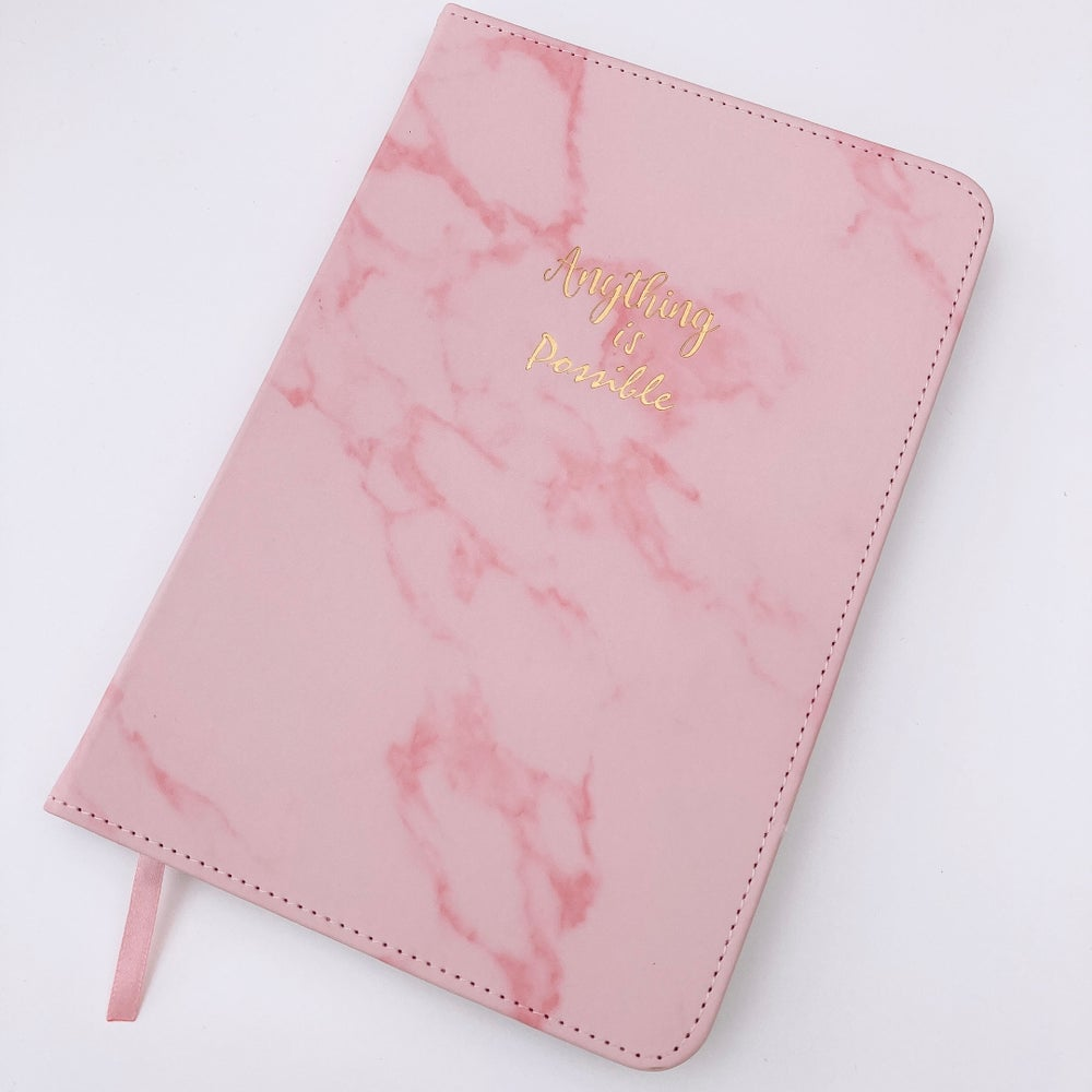 "Image of PINK MARBLE "" ANYTHING IS POSSIBLE "" PU NOTEBOOK JOURNAL"