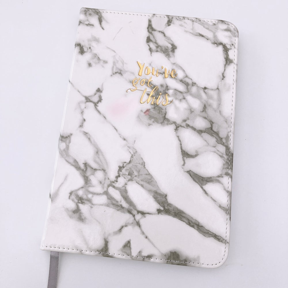 """Image of GREY MARBLE """" YOU'VE GOT THIS"""" PU NOTEBOOK JOURNAL"""