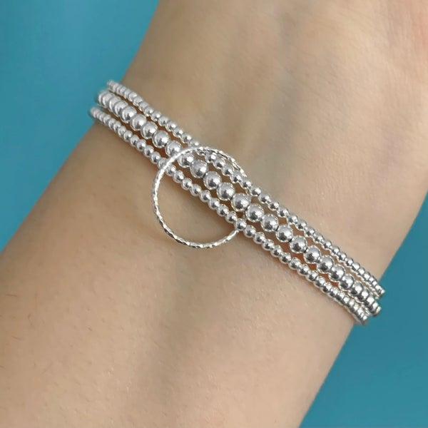 Image of Sterling Silver Triple Circle Connector Bracelet