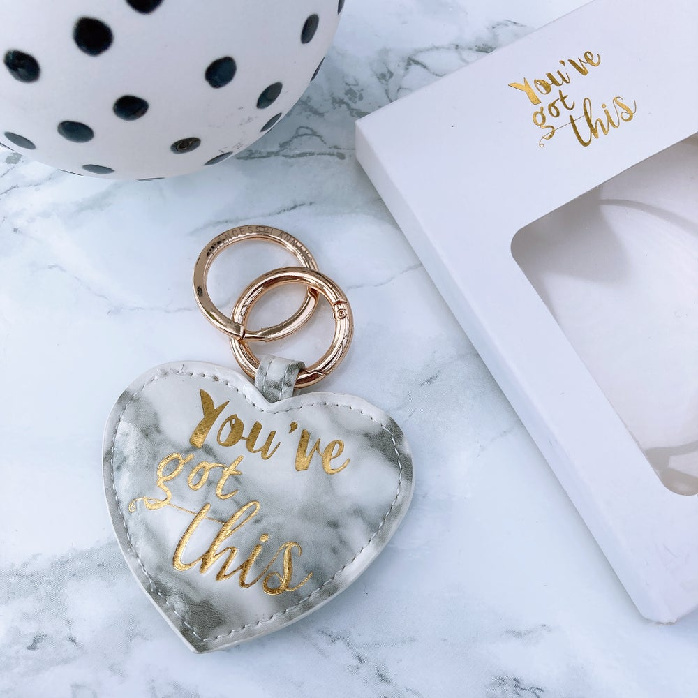 "Image of GREY MARBLE "" YOU'VE GOT THIS"" HEART KEYRING"