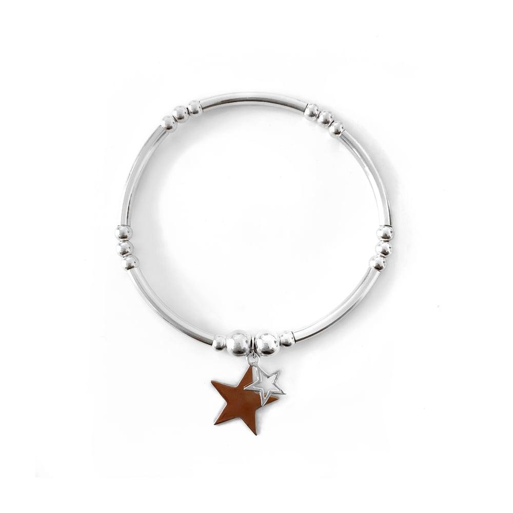 Image of Sterling Silver & Rose Gold Double Star Charm Bangle Bracelet