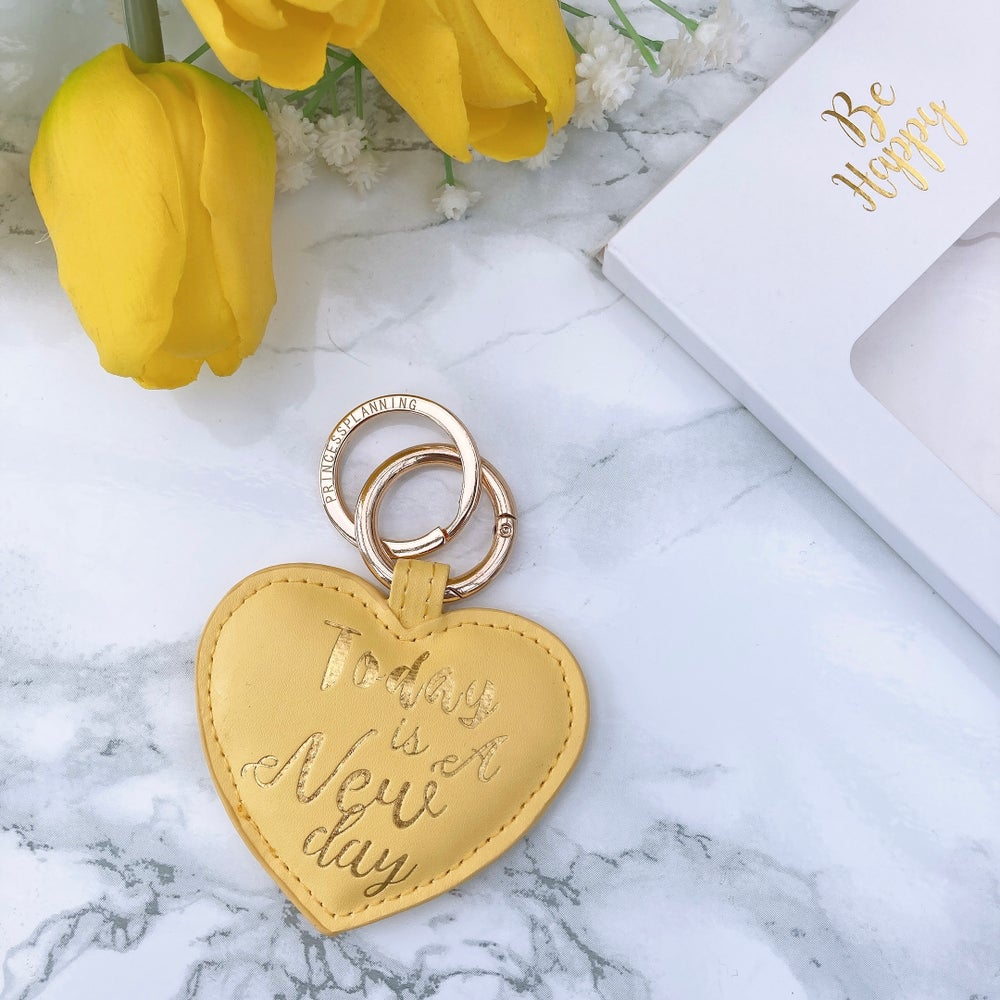 "Image of SUNSHINE YELLOW "" TODAY IS A NEW DAY "" HEART KEYRING"