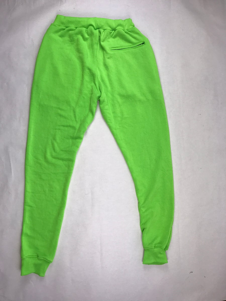 "Image of Big G x MITCHCRAFT Highlighter Green ""Flagship"" Joggers"