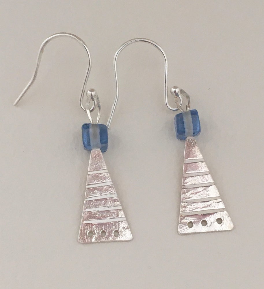 Image of Triangle earrings with blue glass bead.