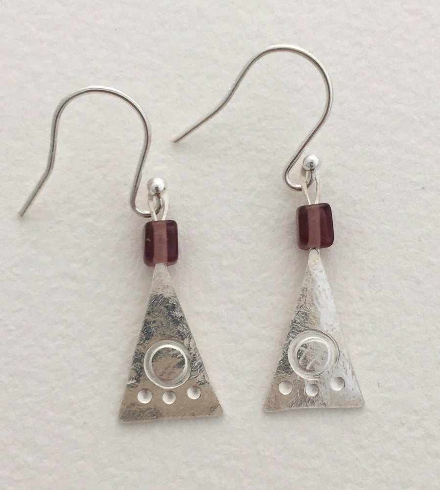 Image of Triangle earrings with glass bead.