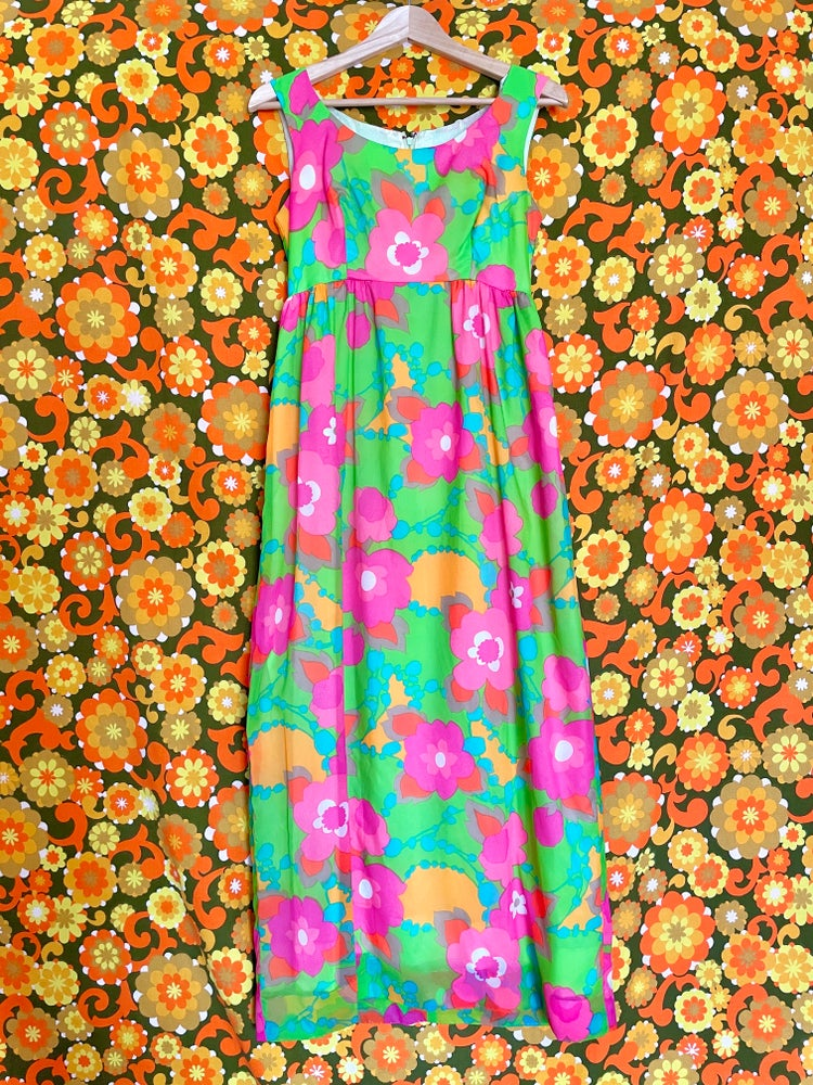 Image of Vintage 60s Day Glo Floral Maxi Dress