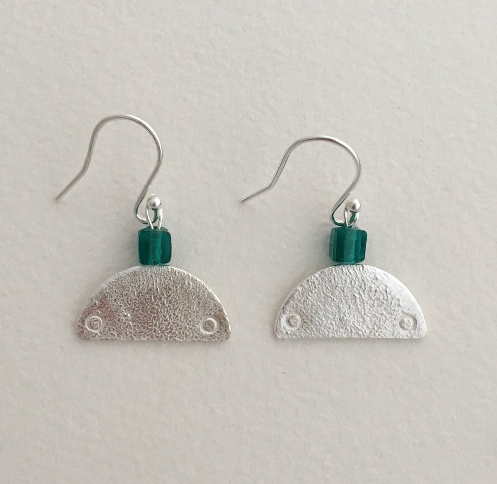 Image of Reticulated half circle earrings with glass bead.