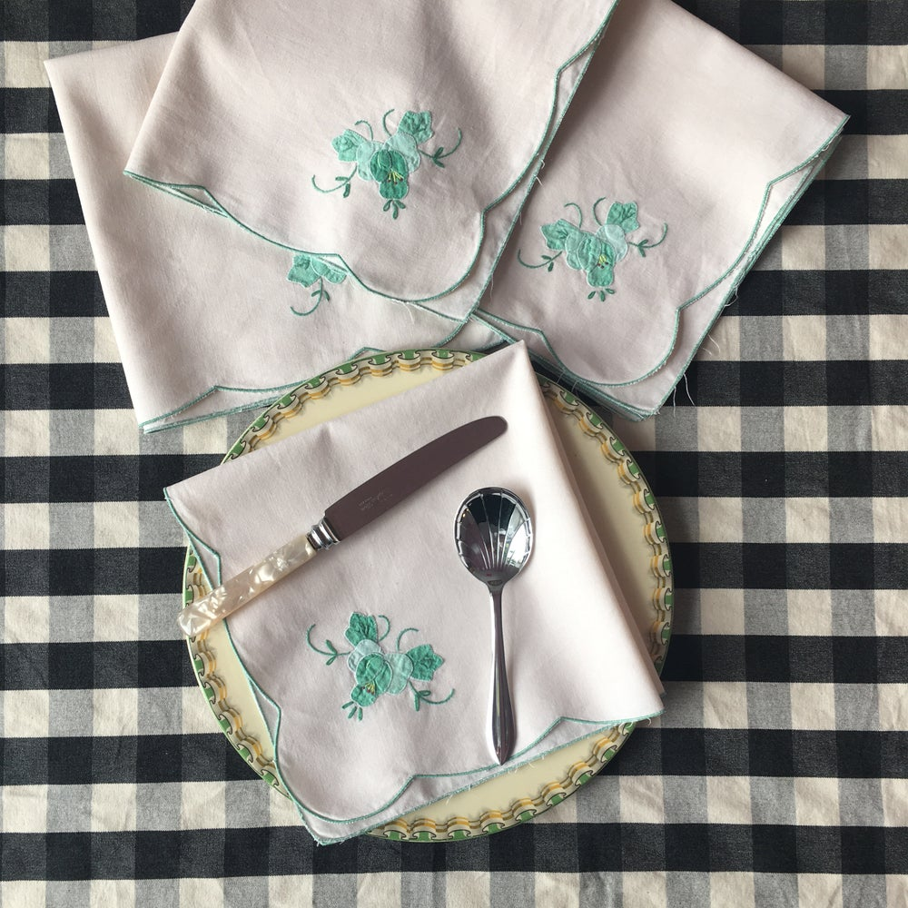 Image of Aqua floral embroidered napkin set