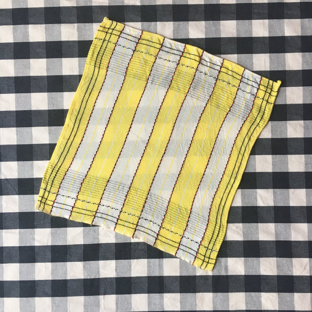 Image of Yellow stripe napkin and tablecloth set